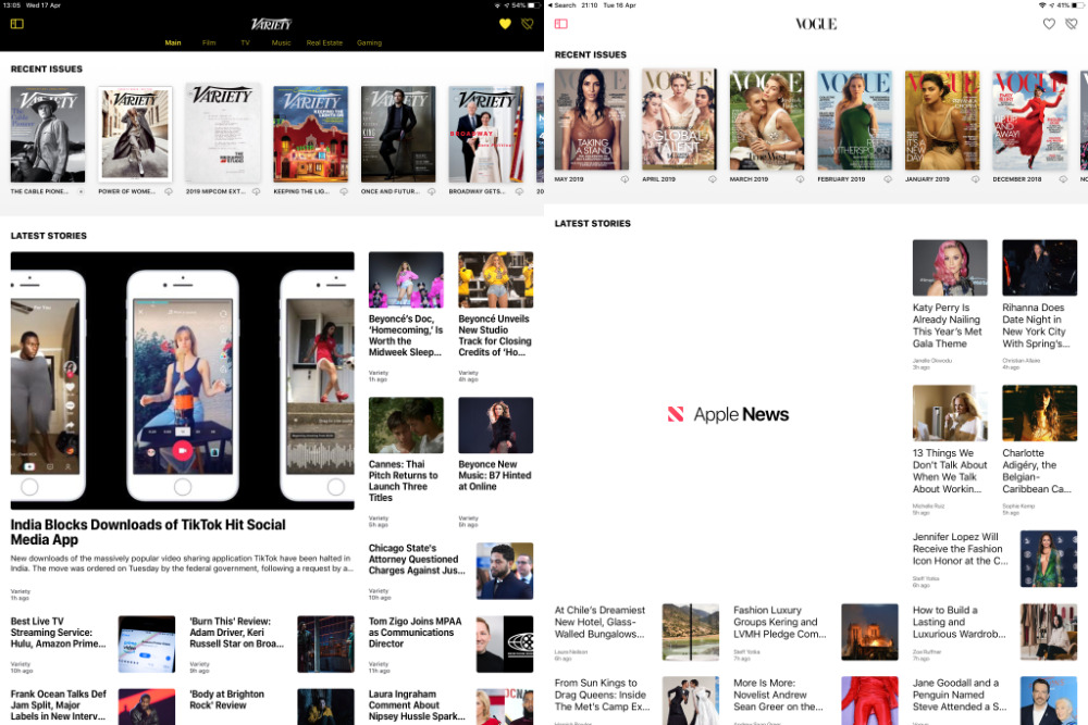Typical magazine pages. Notice the issues at the top, the latest stories down below —  and, on the left,  the hole in Vogue's page because Apple News+ hasn't loaded a story yet.