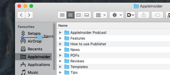 You can drag just about anything into the sidebar for quick access later. And you can drag most things out again.
