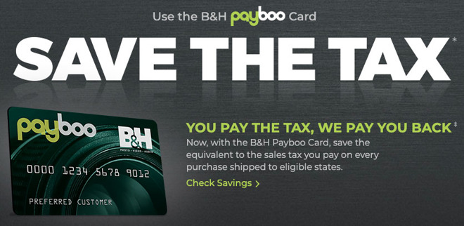 BH Payboo no sales tax credit card