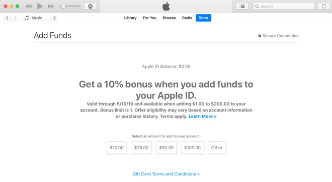 Apple offering 10% bonus for adding credit to Apple ID
