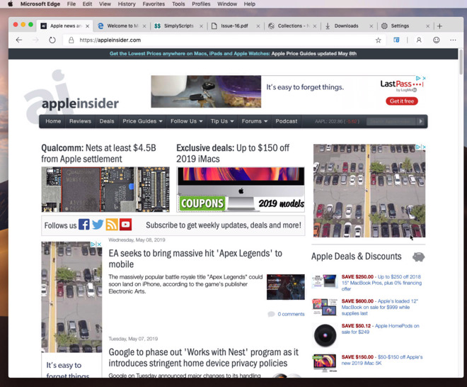 Microsoft Edge showing AppleInsider's front page.