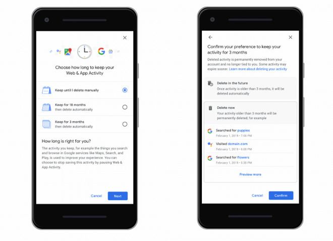 Google recently added options to automatically delete Web and App Activity, as well as Location Data