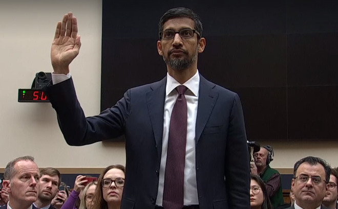 Pichai testifying to a US congressional panel in December denying accusations Google searches are politically biased.
