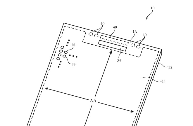 An illustration of an 'example device,' indicating the application is for the TrueDepth camera, and possibly sub-display sensor arrays.