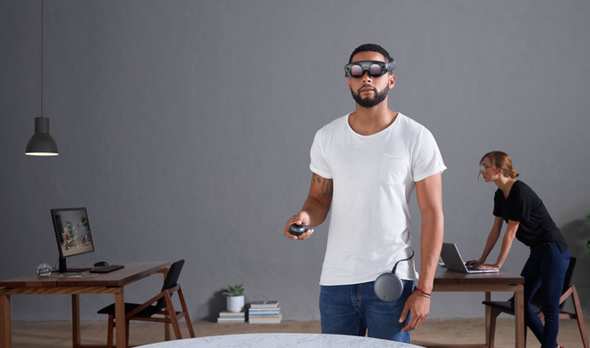 A Magic Leap AR headset, an example of lightweight headset as suggested in recent rumors about Apple's version