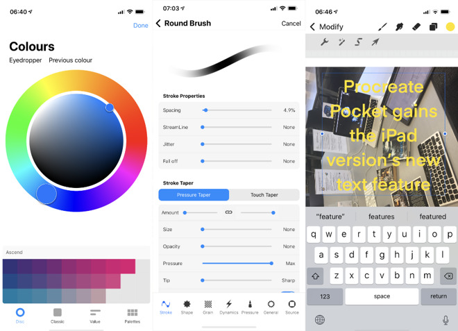 L-R Procreate Pocket 3's Color Wheel, Brush Control, and text features
