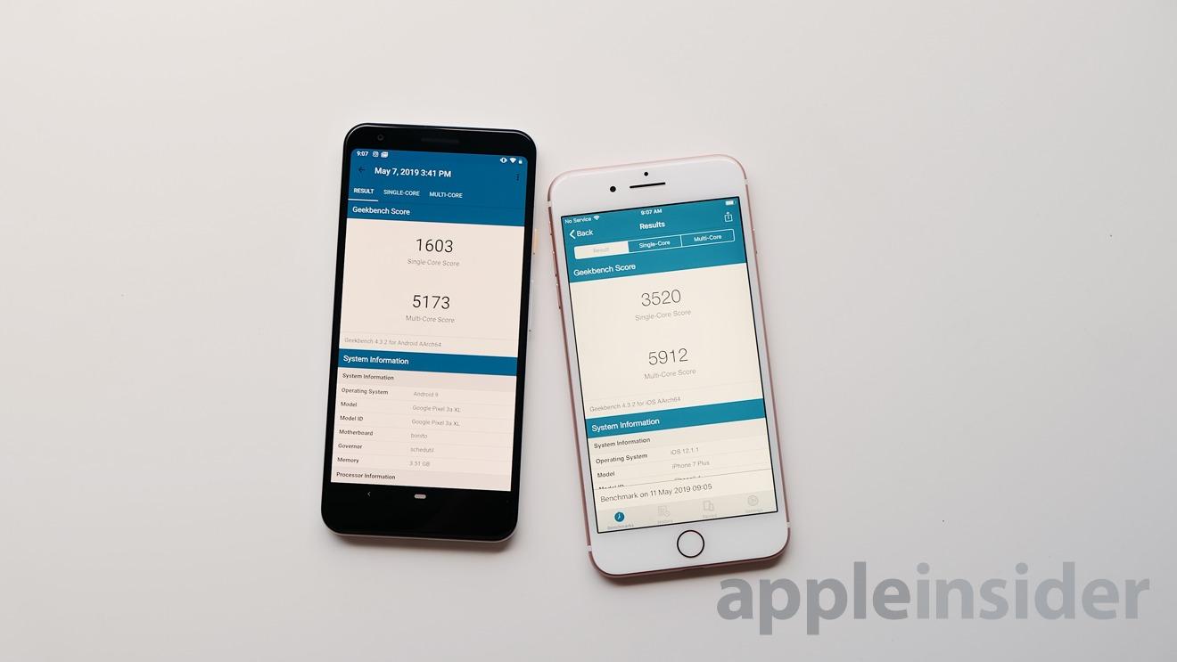 Pixel 3a vs iPhone 7 Plus Geekbench Scores