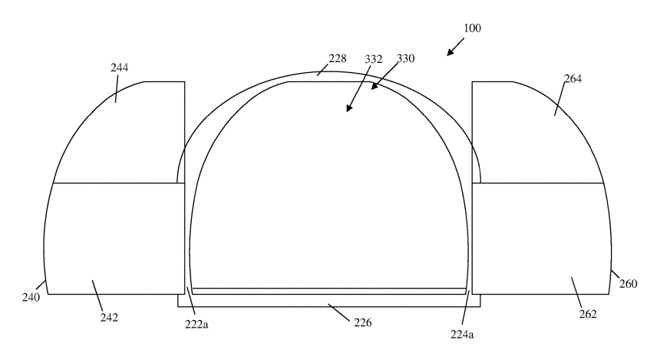 An illustration of how wide the doors could open according to Apple's patent filing.