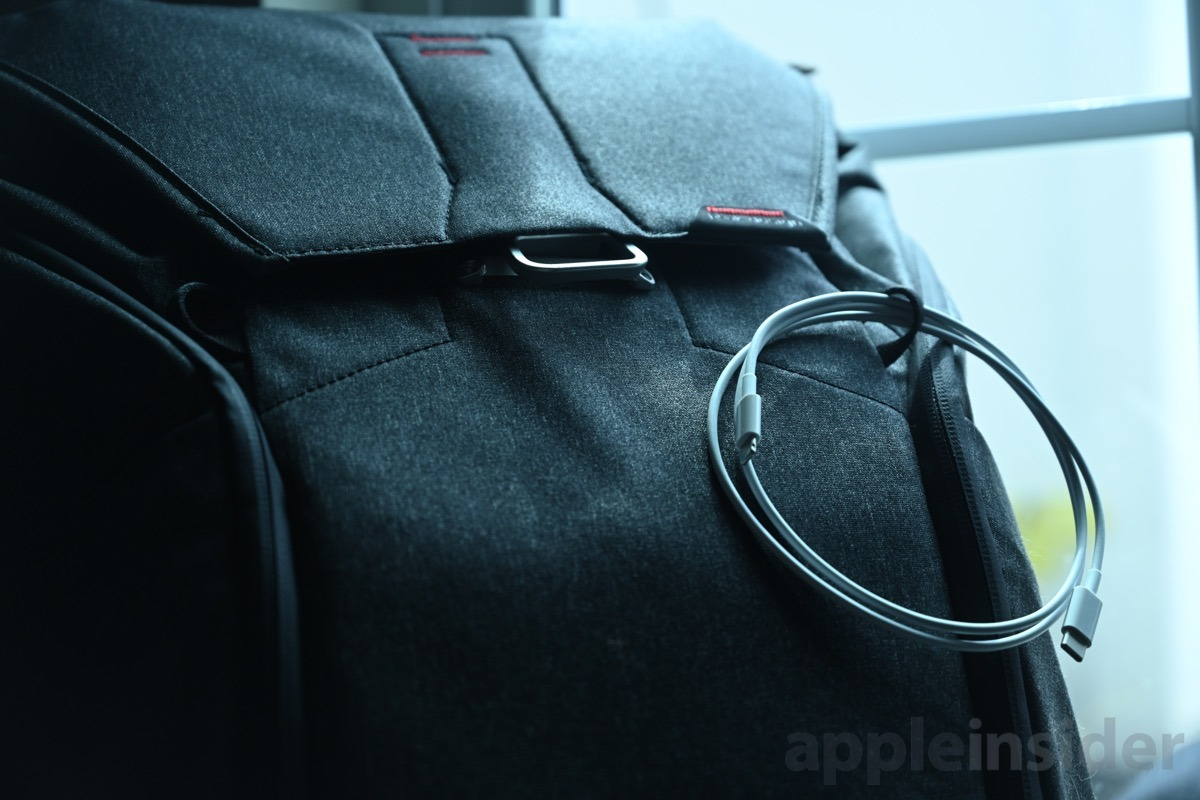 Apple USB-C Lightning cable on the Peak Design Everyday Backpack