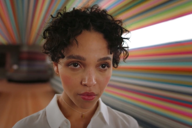 Still from the Welcome Home ad directed by Spike Jonze and starring FKA twigs. (Source: Apple)