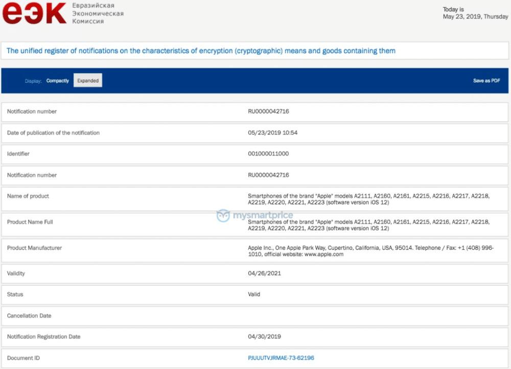 Screengrab of the EEC listing (source: MySmartPrice)