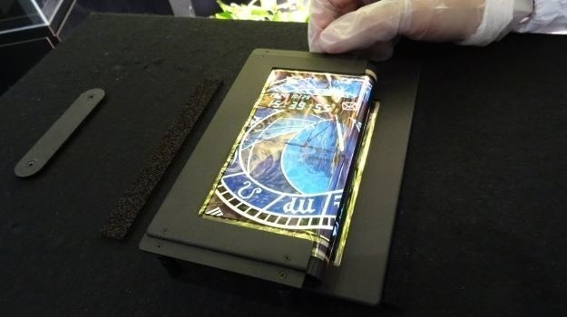 An early prototype of a flexible display panel