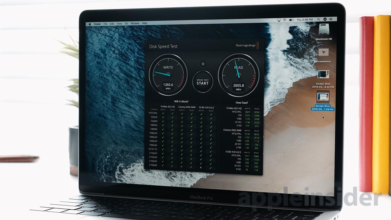 2019 13-inch MacBook Pro Blackmagic Disk Speed Test
