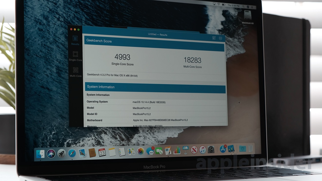 2019 13-inch MacBook Pro Geekbench 4 results