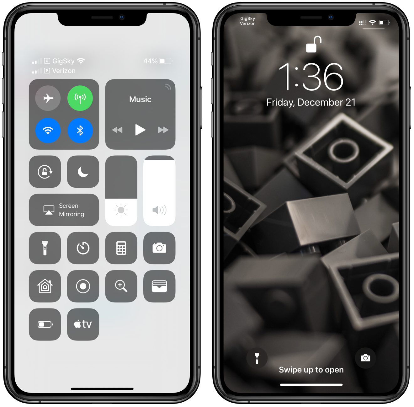 The lock screen and control center display both service's signal strength