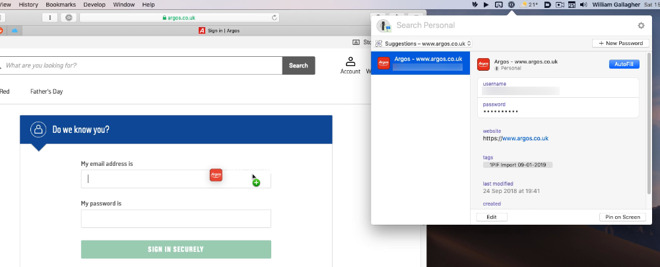 You can now drag a login straight from 1Password's menubar app into a website