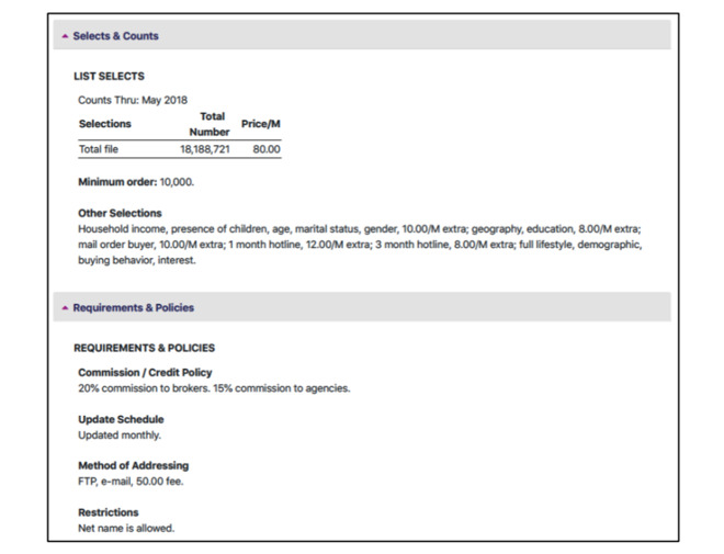 Screenshot of broker firm CDM's apparent sale of iTunes user data (source: court filing)