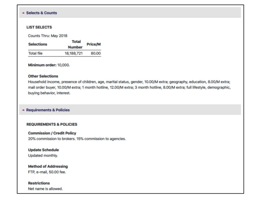 Screenshot of broker firm CDM's apparent sale of iTunes user data (source: court filing)