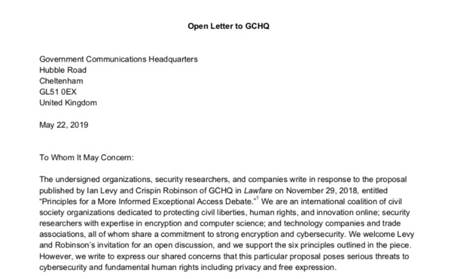Start of the open letter co-signed by Apple