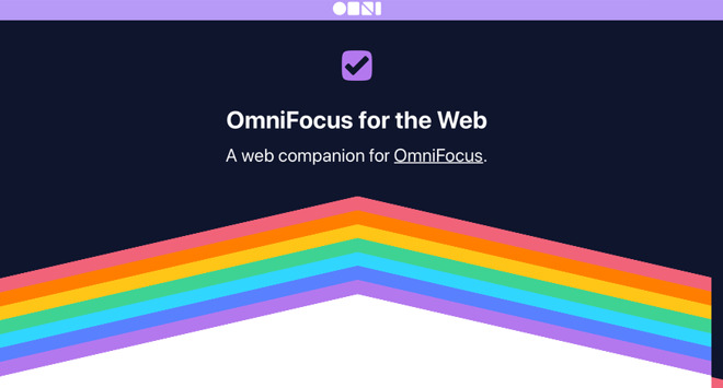 The opening screen of OmniFocus for the Web