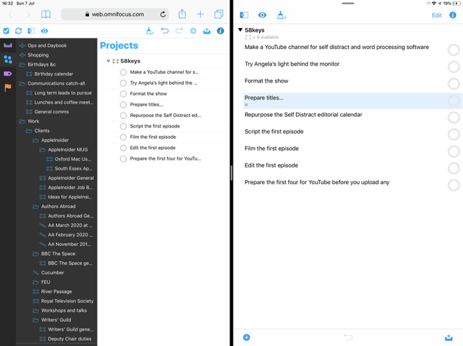 Split view on iPad showing (left) OmniFocus for the Web and (right) for iPad.