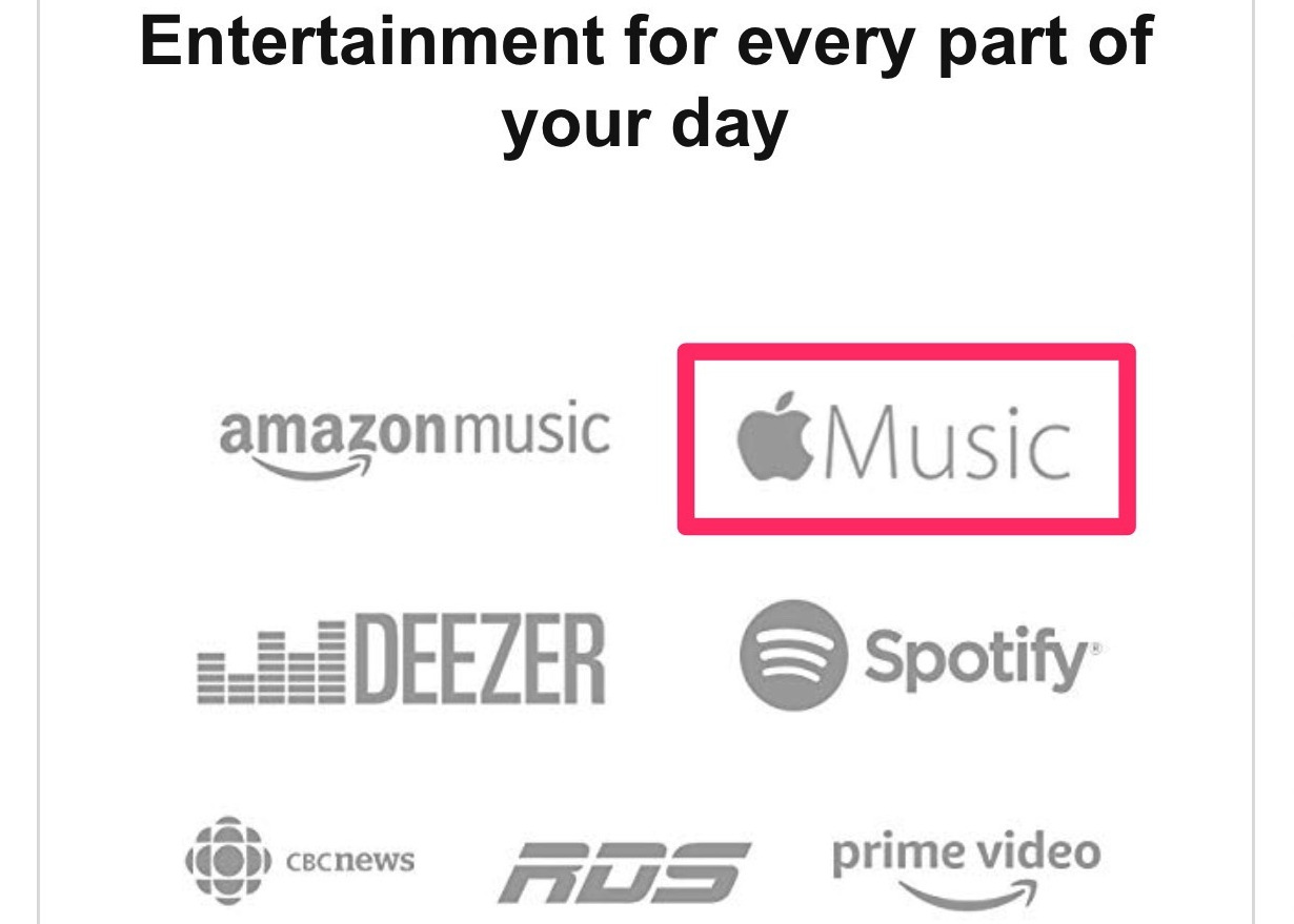 The Echo Show 5 product listing in the Amazon app in Canada showing Apple Music [via iPhone in Canada]