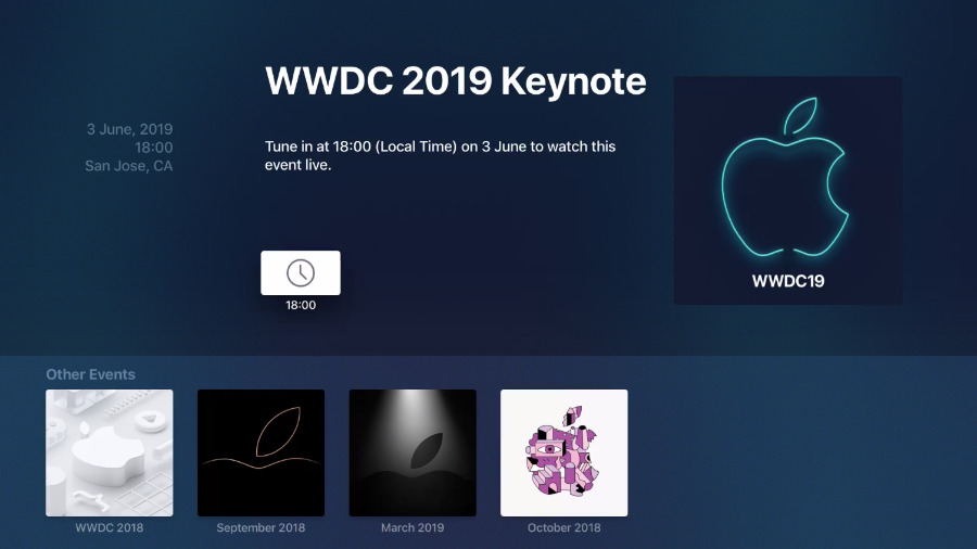 Apple TV has an events app available that shows you the keynote and also its start time wherever you are