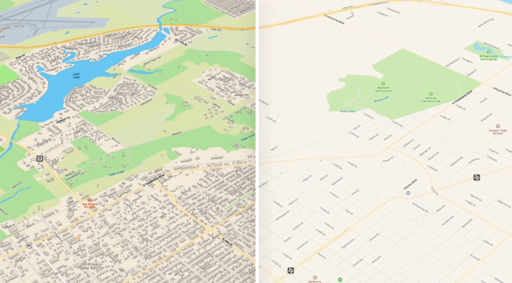 Left: Apple Maps in iOS 13. Right: the now rather empty-looking equivalent in iOS 12