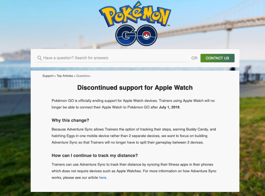 Niantic's announcement on its website about dropping Apple Watch
