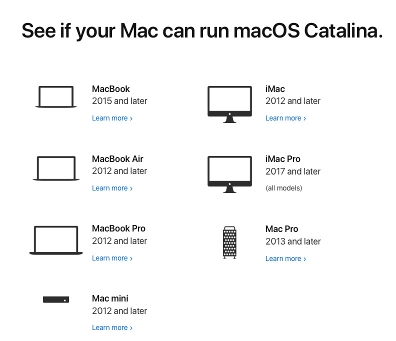 Apple's guide to macOS Catalina compatibility