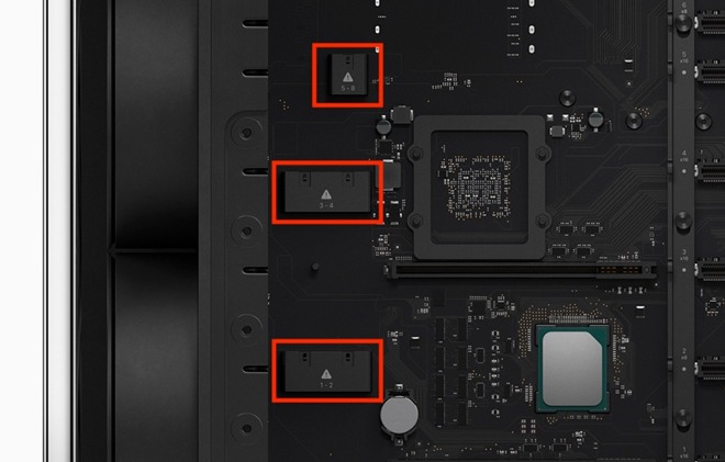 Sections within the Mac Pro that may provide PCIe power cable connection points