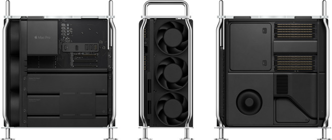 A shot of the front and two sides of the Mac Pro's internals. The RAM is on the 'back' side of the motherboard.