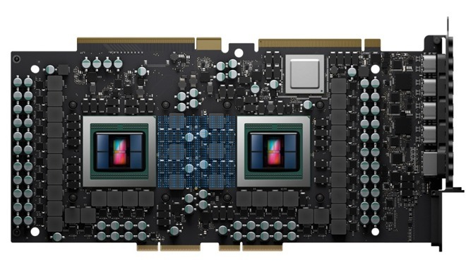 AMD's Radeon Pro Vega II Duo with the Infinity Fabric Link interconnect highlighted