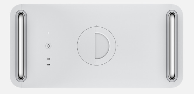 The top of the Mac Pro, showing the latch handle and the markers to turn for locking and unlocking the enclosure