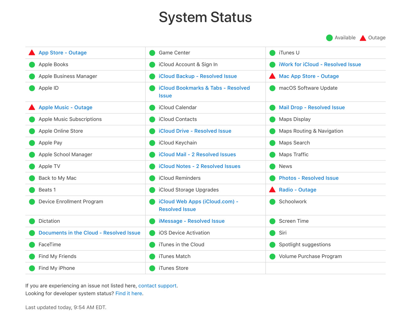 Apple Suffering from Limited Apple Music, App Store Outages [u]