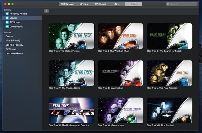 You'll still be able to watch all your previously purchased movies. There are films that aren't Star Trek, by the way, and you can buy them in the TV app
