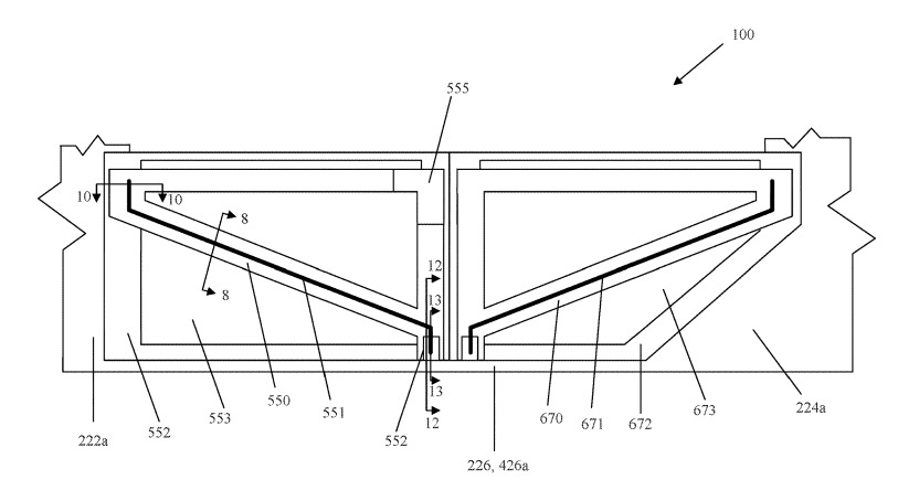 Apple's door patent showing where beams offering structural integrity would be placed.