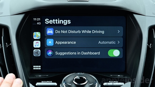 Settings app in CarPlay