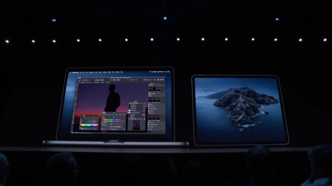 Demonstrating Sidecar at WWDC 2019