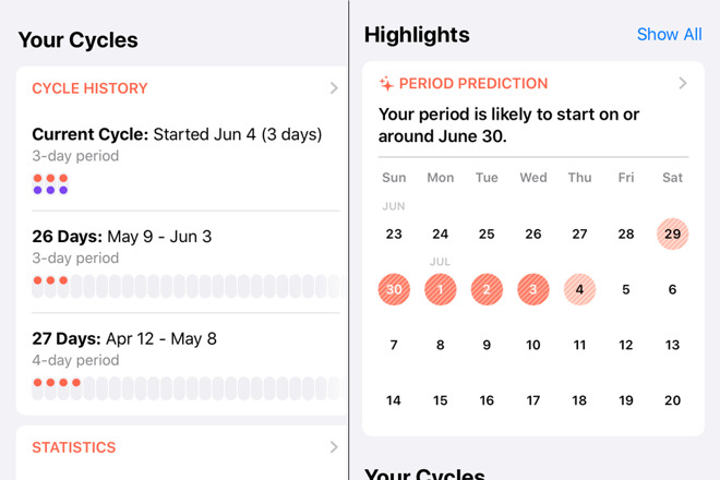 Hands on with Cycle, Apple's new menstrual cycle tracker in