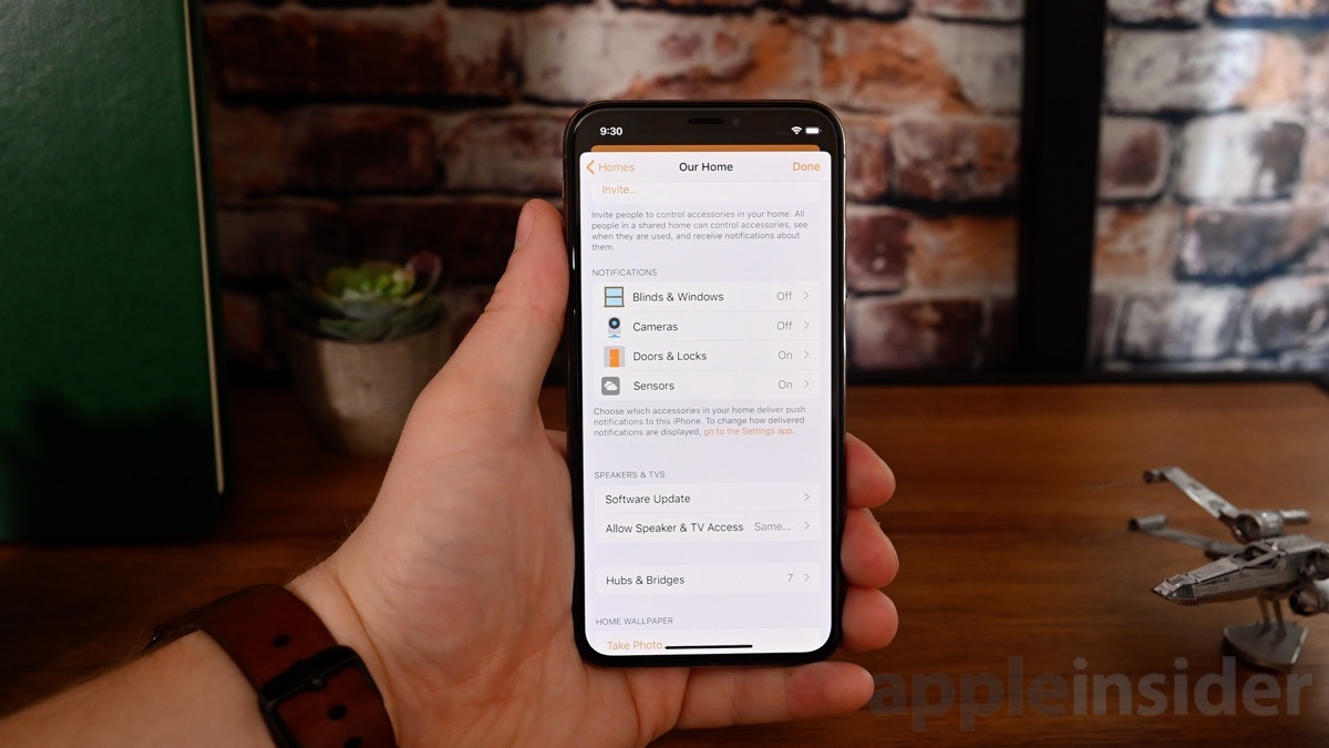 Settings in the Home app in iOS 13