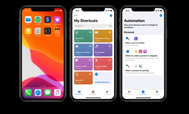 Left: Siri Shortcuts is now included in iOS 13 rather than being a separate download. Middle: the newly redesigned gallery of your shortcuts. Right: the new Automation tab