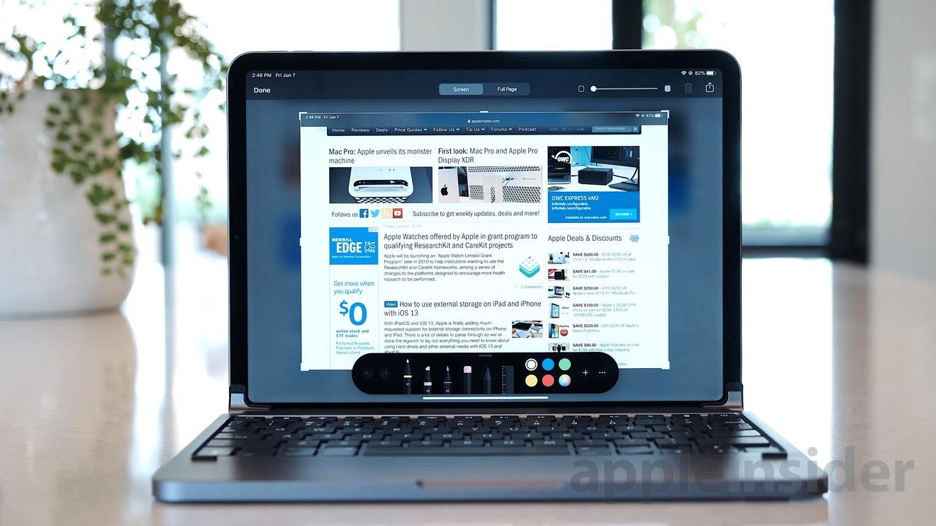 New screenshot tool on iPadOS