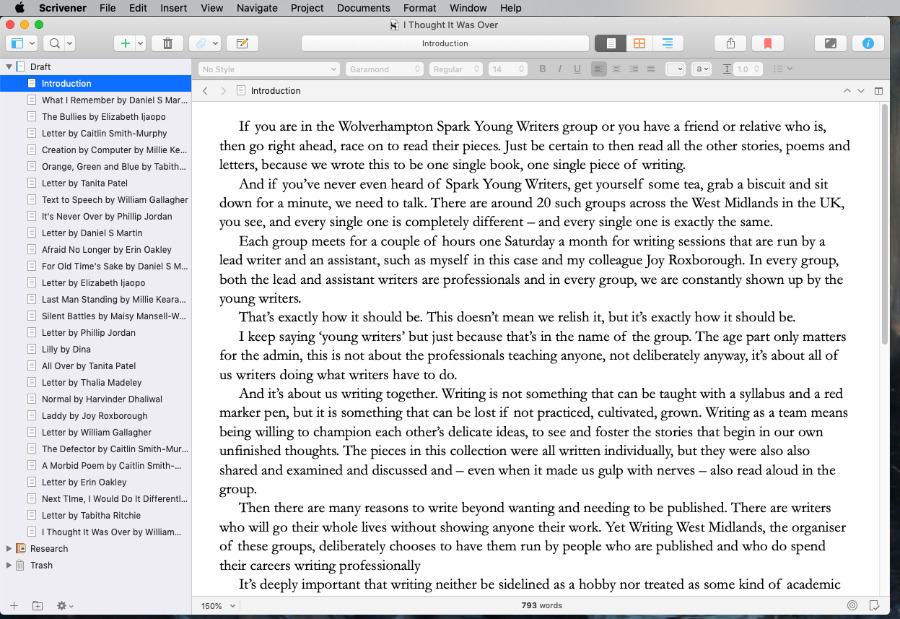 Alongside its use as a research-collecting tool, Scrivener is simply enjoyable for writing in