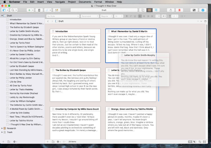 Scrivener lets you move chapters around