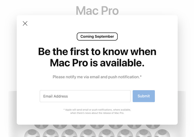 The front page notification link interface clearly displays September as the Mac Pro's arrival time