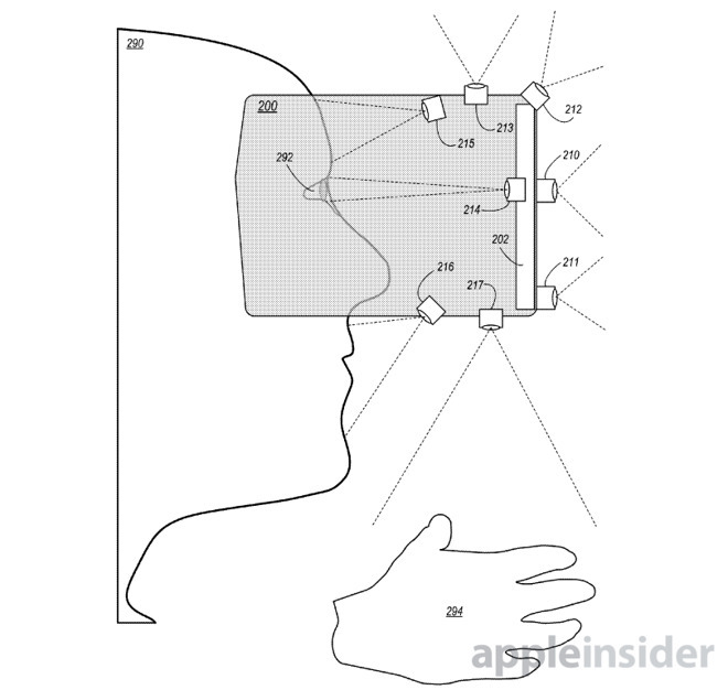 An image from an Apple patent filing showing cameras inside and outside a headset