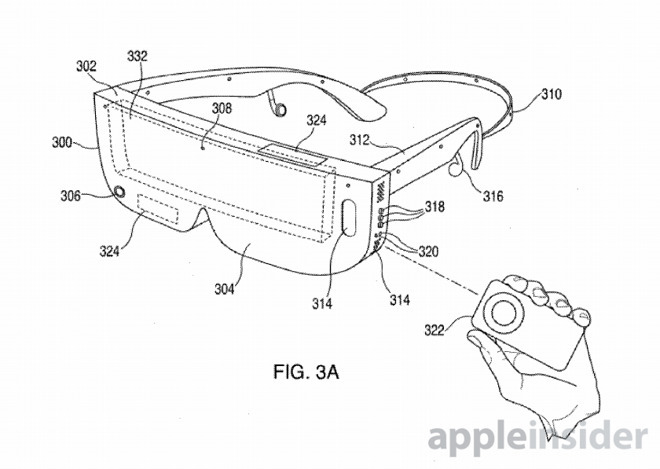 A patent filing image of smart glasses holding an iPhone