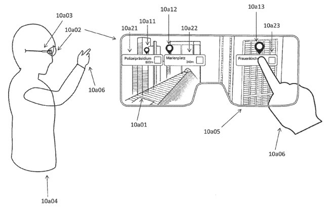 How a 'points of interest' navigation app could appear in smart glasses