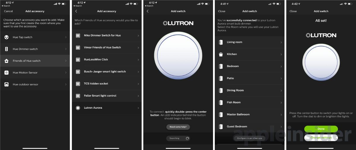 Lutron Aurora setup in the Hue app